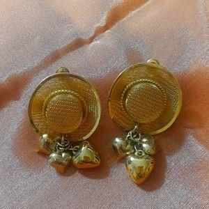 Vintage Cowboy Hat Gold Earrings